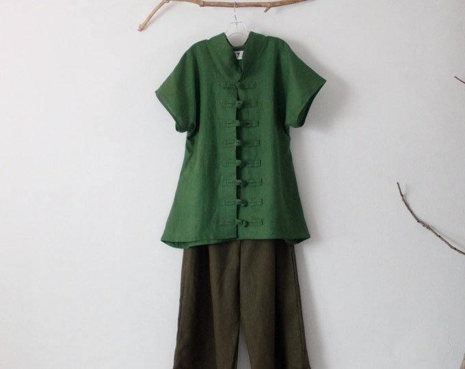 linen outfit kelly green top with olive pants handmade to measure petite to plus size / drop sleeve linen top with frog toggles / top pants