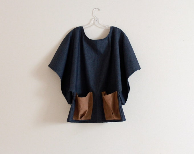stretchy denim wide kimono sleeve top with big linen pockets / denim shirt / kimono shirt / oversized kimono top / plus size denim top / top