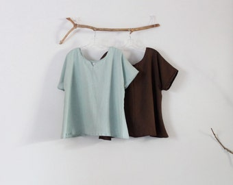 summer weight arty neckline linen mint and chocolate two tops