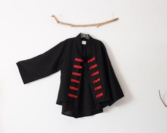 ready to wear black heavy linen jacket with red linen frog buttons size M / indie fashion / black linen jacket / black red jacket