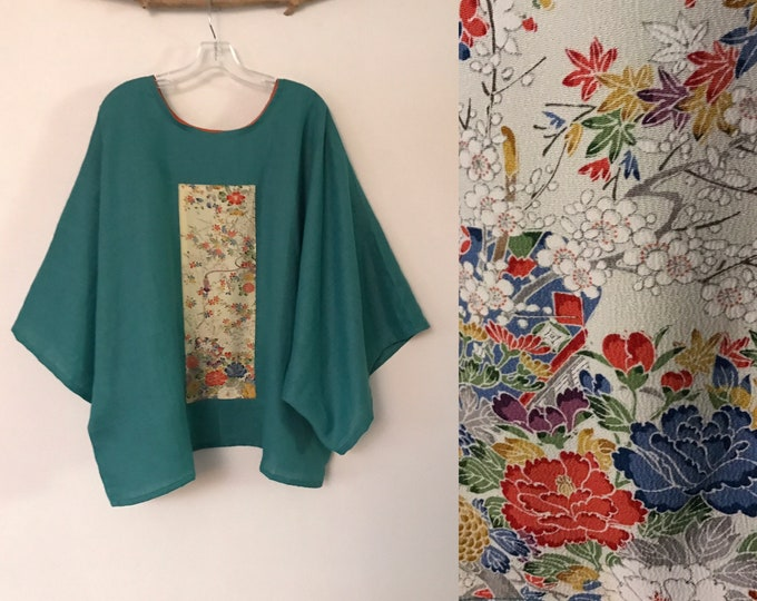 Featured listing image: oversized sea green linen top with vintage kimono panel ready to wear / kimono linen top / Japanese kimono / plus size linen top / shirt
