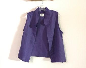 minimalist light purple linen vest ready to wear size M