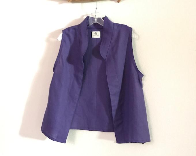 35b2b73b32 minimalist light purple linen vest ready to wear size M   short length  light purple linen