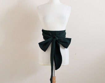 cotton obi with curved end made to order