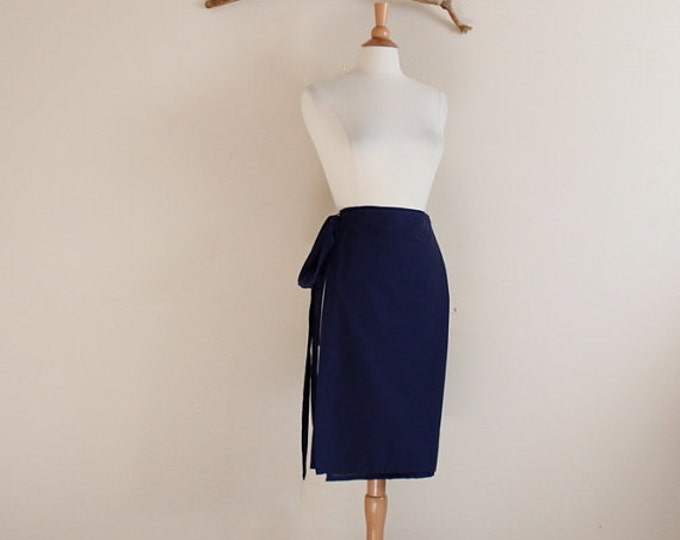 made to order simple wrap  cotton knee length skirt
