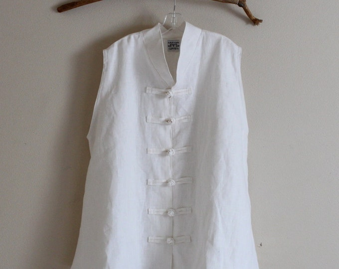 handmade to measure plus size heavy linen Asian vest / white linen party clothing / beach wedding vest / made in USA / casual linen clothing
