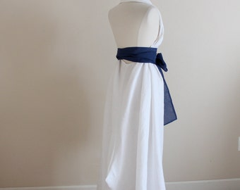 custom eco linen chic halter floor length dress / alternative wedding dress / linen wedding / linen party / beach wedding / halter dress /