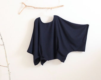 Custom oversized soft navy wool kimono wide sleeve top