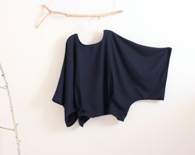 9130380703 oversized soft navy wool kimono wide sleeve top with folds   navy wool top    wide