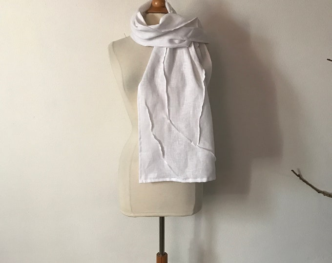 linen scarf with running lines / made to order  linen scarf / free size / head wrap / shawl / custom color