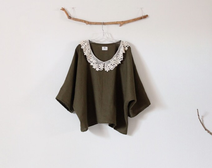 ready to wear lace collar oversized olive linen top / casual olive linen top / plus size linen top with lace collar