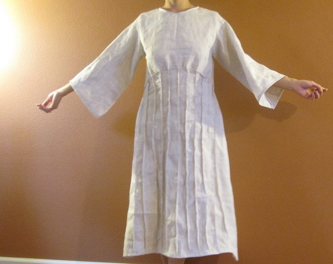 custom fan pleats pure linen dress made to fit listing / handmade linen dress with pleats / plus size / petite / linen wedding / linen party