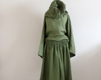 custom linen outfit shirred top gaucho pants /shirred turtle neck top / smocked waist palazzo gaucho pants / handmade indie clothing /