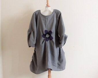 531363b236 custom plus size flower fold gray linen dress