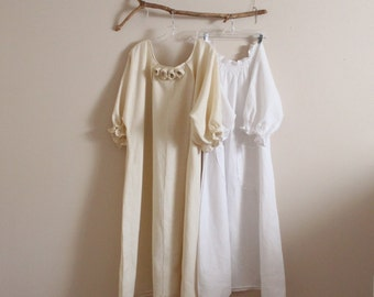 two linen shirring dresses  handmade to measure petite to plus size by annyschoo / cream and white comfy linen dresses