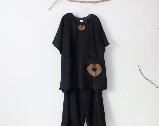 linen outfit ginger flower black linen top with black linen cropped pants handmade to measure petite to plus size / comfy linen top pants