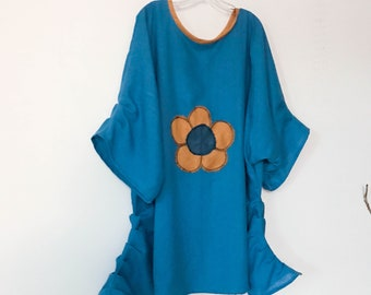 plus size big flower teal linen tunic length dress ready to wear