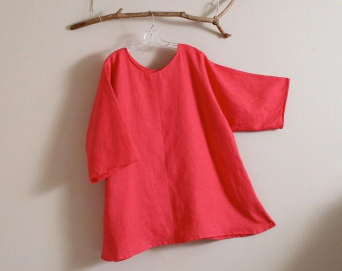 custom plus size  linen v neck  top / plus size linen blouse / comfy linen blouse / plus size linen top / custom color