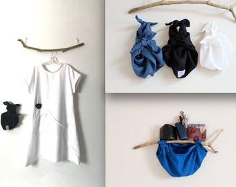 Three eco friendly linen furoshiki wristlets