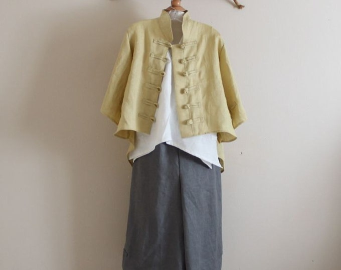 linen outfit three pieces handmade to measure petite to plus size / linen top / linen jacket with frog toggles / linen pants / made in USA