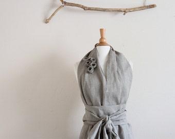 custom linen chic halter floor length dress with obi and roses / alternative wedding dress / linen wedding party / linen halter dress /