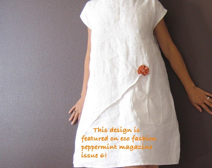 made to order linen dress with pleated flowers / white linen dress with flower / boho linen dress / indie fashion linen dress / wedding