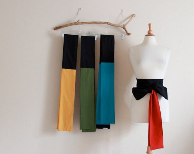 made to order color block cotton obi / 4 colors available / red green teal yellow black obi / dual color cotton obi / Japanese obi sash /