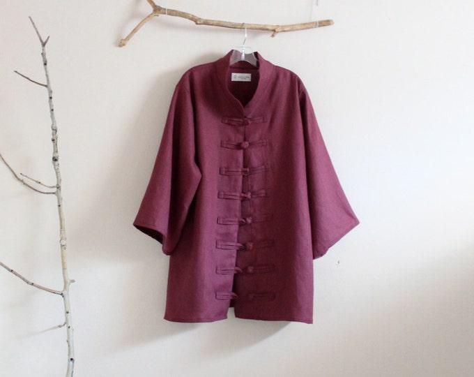 XS to SIX XL custom heavy linen jacket /women plus size / winter linen jacket coat/ slowclothes / ethically made clothing /