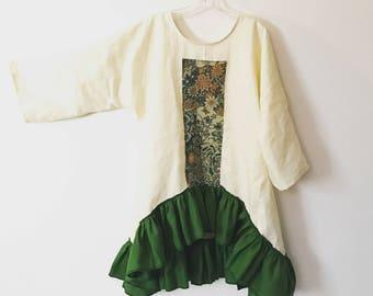 green kimono silk motif on lagenlook cream linen tunic