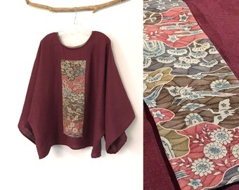 oversized burgundy heavy linen top with vintage kimono panel ready to wear