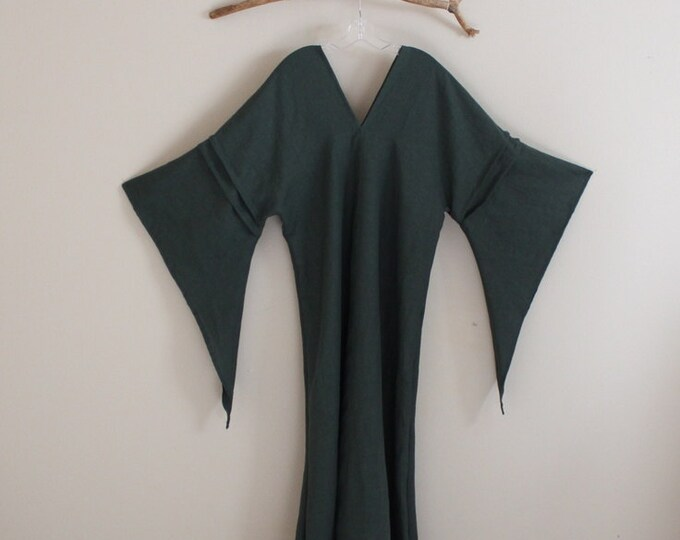 custom eco wedding dress linen flying swallow dress made to measure listing / flare wide sleeve linen dress