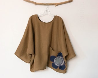 ginger linen oversized top with big flower on pocket ready to wear