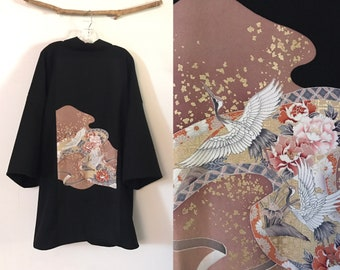 Collectable black crepe wool haori inspired jacket with dancing cranes  and gold splashes kimono silk panel