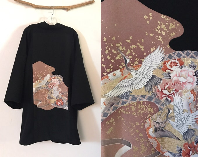 Collectable black crepe wool haori inspired jacket with dancing cranes  and gold splashes kimono silk panel/ free size / wearable art