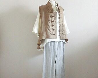 custom linen outfit blouse vest pants