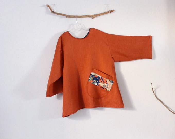 3058df2a49 ready to wear plus size rust linen blouse with large off-kilter rounded  pocket