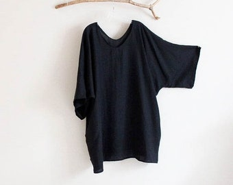 plus size straight shape linen tunic with pockets