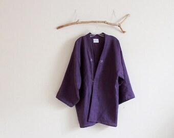 custom heavy linen haori jacket hand embroidery flowers made to order / custom colors haori /handmade clothing / simple look jacket