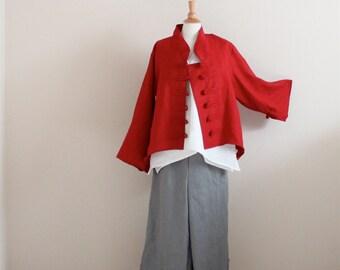 custom linen jacket, top and pants