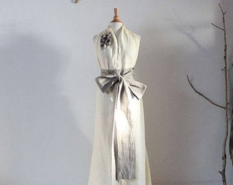 custom linen chic halter floor length dress with obi and roses