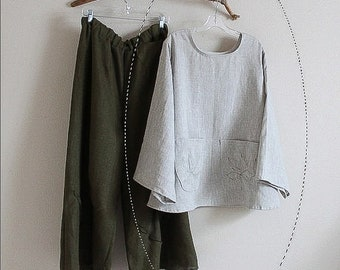 linen blouse with lotus motif pockets made to order listing
