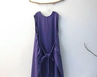 Plus size  light purple linen flutter dress  XXXL - ready to wear