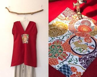 crimson linen tunic top with kimono silk motif