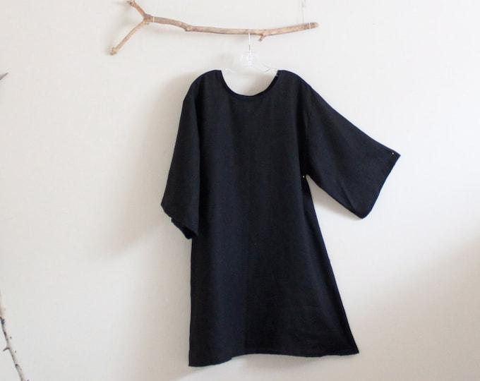 simple A line linen dress / your choice of sleeve length / made to order / black linen dress / plus size dress / petite linen dress / women