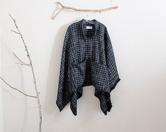 custom fall winter wool linen blend swallow poncho with big pockets