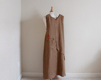 custom plus size arty neckline  linen dress with pleat flower / patched pocket / linen dress /custom linen dress / sleeveless linen dress