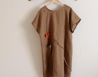 custom linen tunic dress with soots and flowers / drop sleeves / linen short dress / every day linen dress / handmade linen dress all sizes