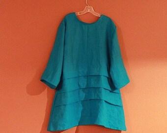 custom plus size  three pleats  linen tunic