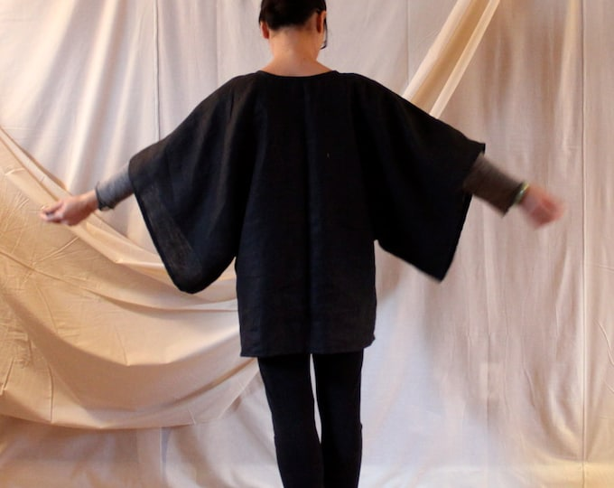 heavy linen wide kimono sleeve top made to fit listing / oversized kimono top / free size wide sleeve top / simplicity linen top /minimalist