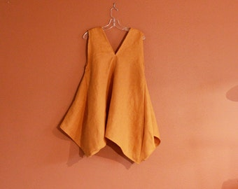 custom linen origami seam flare top